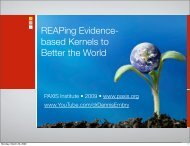 REAPing Evidence- based Kernels to Better the World