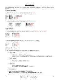 Grammaire 8P – Les adverbes 1 LES ADVERBES a) Règle ...