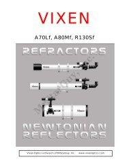 A70Lf, A80Mf, and R130Sf Manual - Vixen Optics