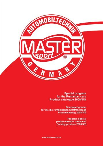 Special program for the Rumanian cars Product catalogue 2008/4/G