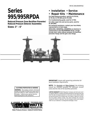 Series 995/995RPDA - Backflow Supply