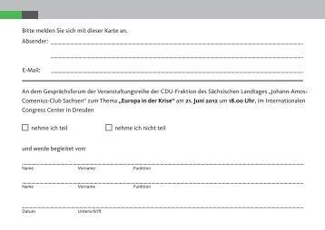 Bitte melden Sie sich mit dieser Karte an. Absender - Die CDU ...