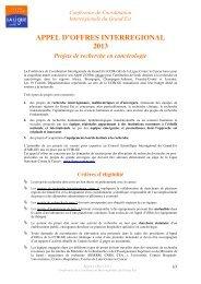 Télécharger l'appel à projet de recherche 2013 - Ligue-cancer21.net