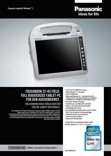 toughbook cf-h2 field. full ruggedized tablet-pc für den aussendienst.