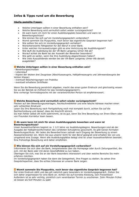 Erhalten Sie Weitere Infos Tipps Zur Bewerbung Vr Bank