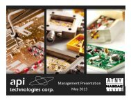 Company Presentation - API Technologies