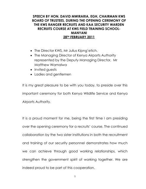 speech by hon  david mwiraria, egh, chairman kws board of