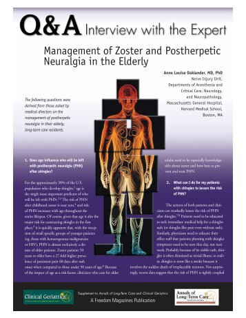 Management Of Zoster And Postherpetic Neuralgia In The Elderly