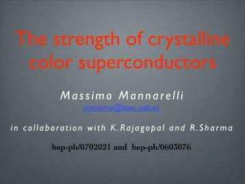 The strength of crystalline color superconductors - Infn
