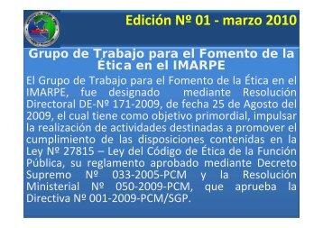 """Principios Eticos del mes """" EL RESPETO"""" Ed. N°01- 2010 - Imarpe"""