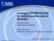 Leveraging SAP BW with SAS for creating business value at Electrabel