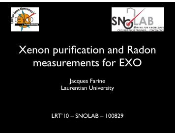 Xe purification and Rn measurement for EXO - snolab
