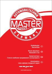Stoßdämpfer Rennerliste Shock absorbers ... - MASTER-SPORT.DE