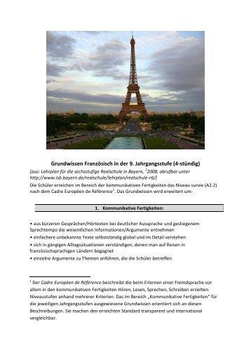 Grundwissen Französisch (9. Klasse)