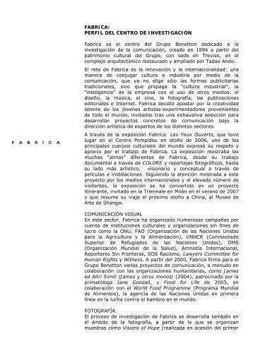 FABRICA: PERFIL DEL CENTRO DE INVESTIGACIÓN Fabrica es el ...