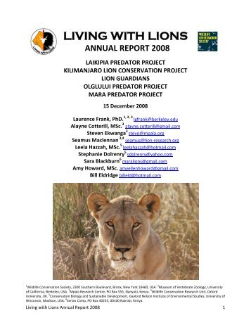 Laikipia Predator Project - Living with Lions