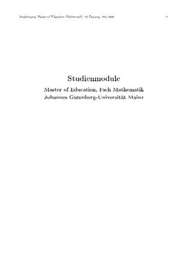 Modulhandbuch Master of Education Mathematik