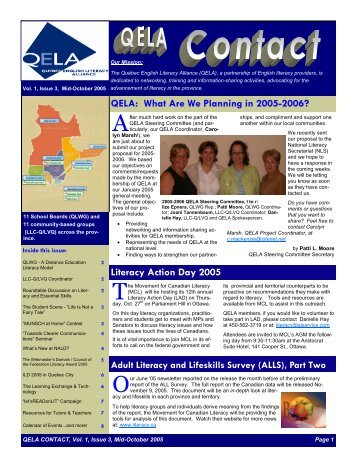 October 2005 Issue.pub - Quebec English Literacy Alliance