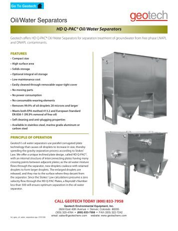 HD Q-PAC® Oil/Water Separators - Geotech Environmental ...