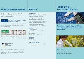 Governance Geistigen Eigentums - WissenschaftsZentrum Umwelt ...
