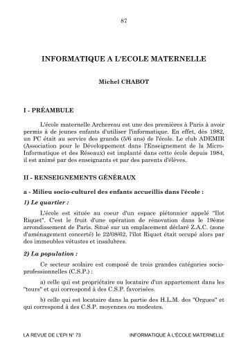 INFORMATIQUE A L'ECOLE MATERNELLE - Archive-EduTice