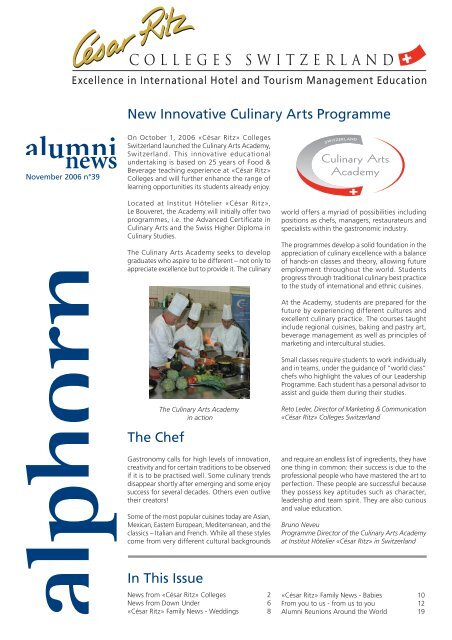 New Innovative Culinary Arts Programme In ... - César Ritz Colleges