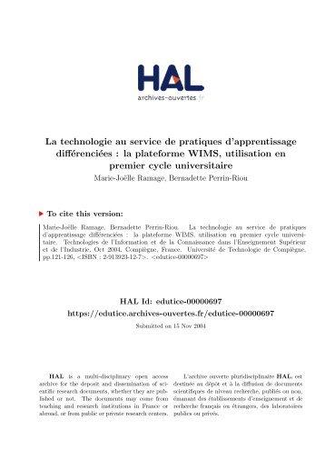 La technologie au service de pratiques d ... - Archive-EduTice