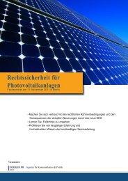 Rechtssicherheit für Photovoltaikanlagen - Doebler PR