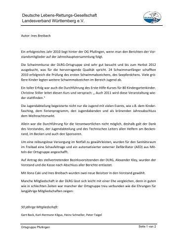 Bericht über die Jahreshauptversammlung der ... - Pfullingen - DLRG