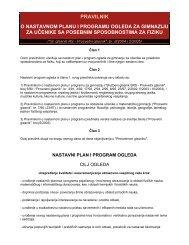 Pravilnik o nastavnom planu i pravilnik o maturi za Odeljenje
