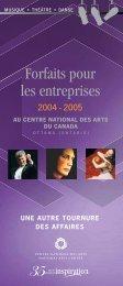 Forfaits pour les entreprises 2004-2005 - National Arts Centre