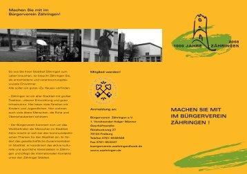 PDF-Flyer zur Mitgliedschaft - Bürgerverein Zähringen