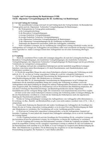 Vergabe und Vertragsordnung für Bauleistungen (VOB) Teil B ...