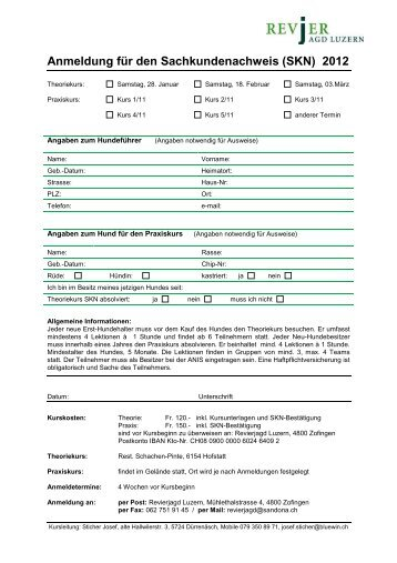 Kurse 2012 SKN - Revierjagd Luzern