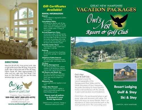 On Site Accommodations - Owl's Nest Resort & Golf Club