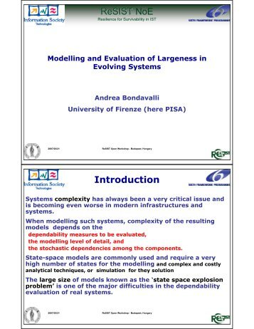 Modeling and Evaluation of Largeness in Evolving Systems - ReSIST
