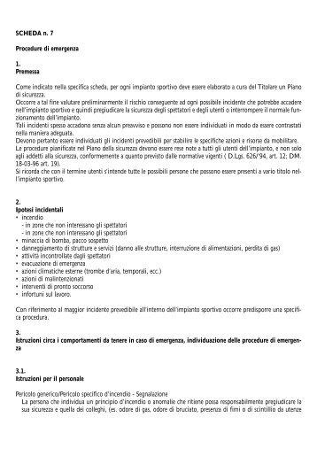 SCHEDA n. 7 Procedure di emergenza 1. Premessa ... - Coni Puglia