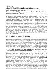 Aktuelle Entwicklungen im Arzthaftungsrecht II (2013)