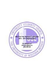 USC First Year Students' Coordinator 2012 – 2013 Interim Report