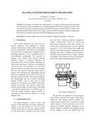 PLASMA SYSTEM FOR ELEMENT SEPARATION - International ...