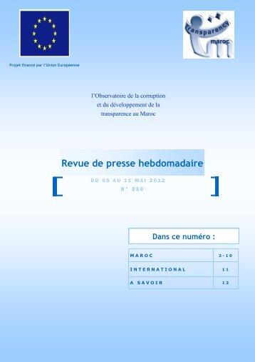 Revue de presse n°210 du 05 au 11 mai 2012 - Transparency