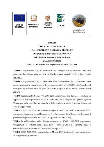 SELEZIONE PERSONALE GAL SARCIDANO BARBAGIA DI SEULO
