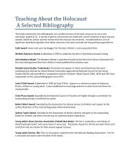 Teaching About the Holocaust A Selected Bibliography - Rod Library