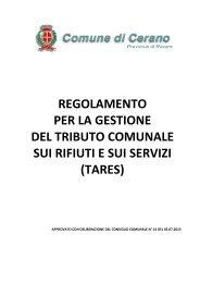 Regolamento Tares - Comune di Cerano