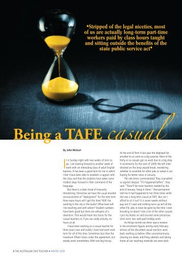 Being a TAFE casual - Australian Education Union