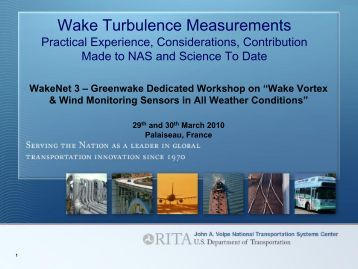 Wake Turbulence Measurements – Practical experience ... - WakeNet