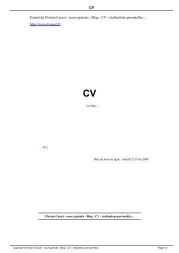CV Extrait du Florian Casset - cours gratuits - Blog - CV - réalisations ...