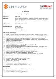 job description - CBS Interactive UK