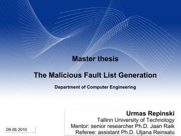 Master Thesis's Presentation - tud.ttu.ee