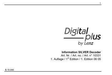 Information SILVER Decoder Art. Nr. / Art. no. / Art. n° 10331 1 ...